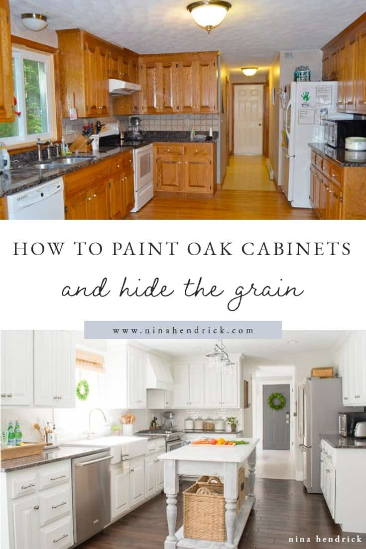 How To Paint Oak Cabinets And Hide The Grain Step By Step Tutorial