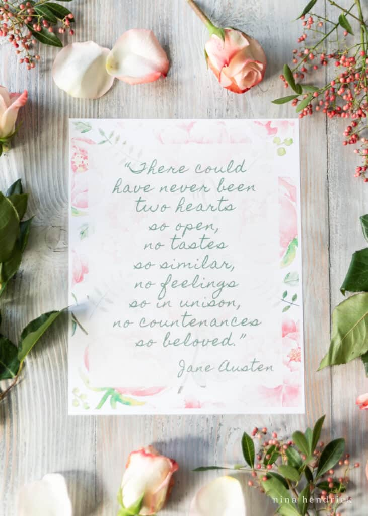 """Jane Austen 8x10"""" print with Persuasion Quote for Valentine's Day"""