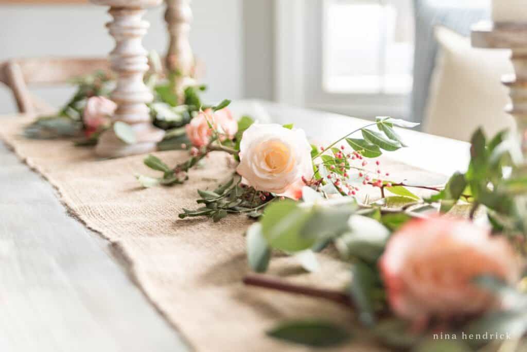 bower of roses on a table for Valentine's Day