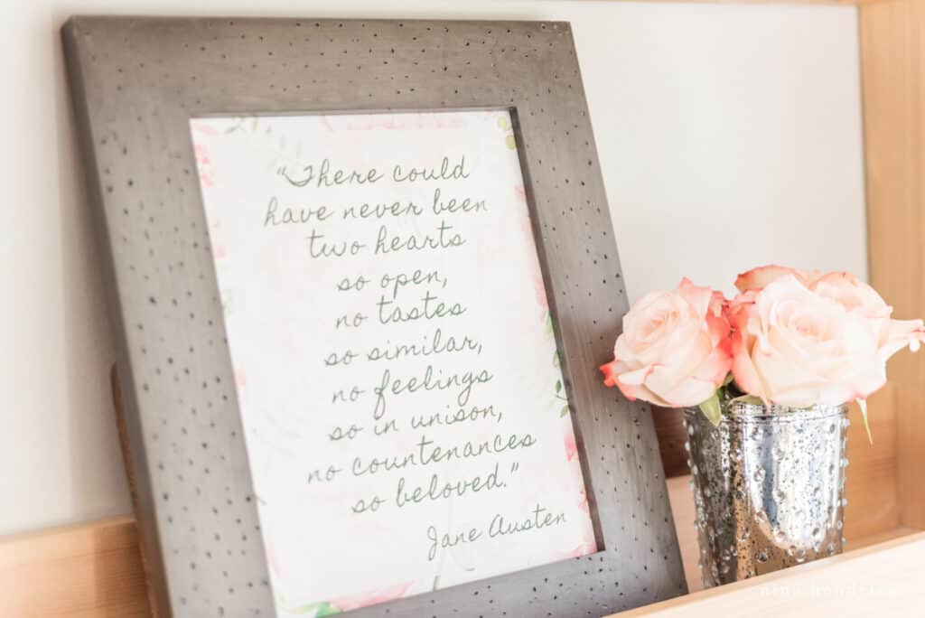 """Framed 8x10"""" Jane Austen quote with pink English Roses"""
