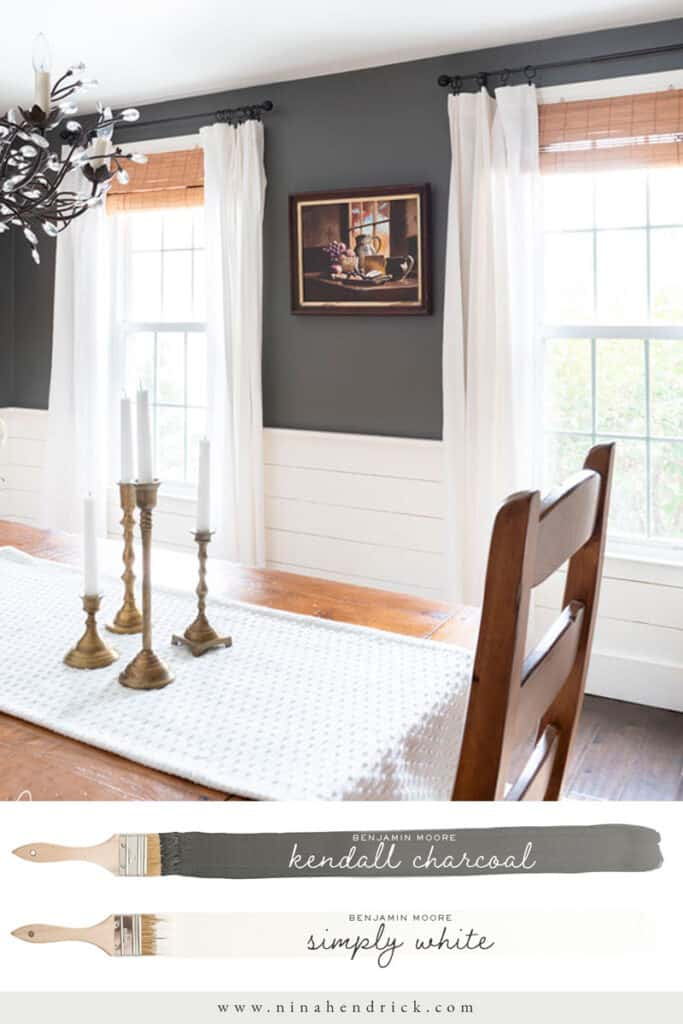 Dining Room painted a strong contrasting Benjamin Moore Kendall Charcoal and Simply White