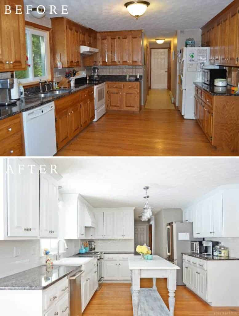 painting oak kitchen cabinets white before and after diy white painted kitchen cabinets reveal 9880
