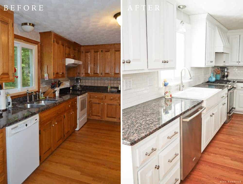 Brown Painted Kitchen Cabinets Before And After