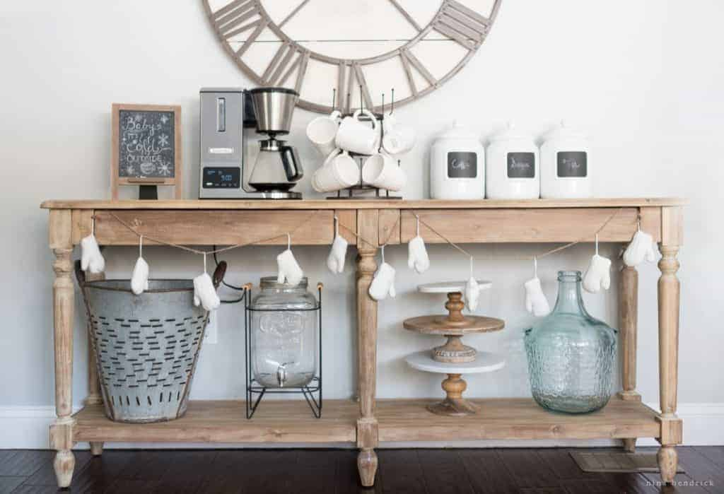 Kitchen Coffee Bar | Create a functional storage area for coffee and supplies by creating a kitchen coffee bar from a formerly tricky space.