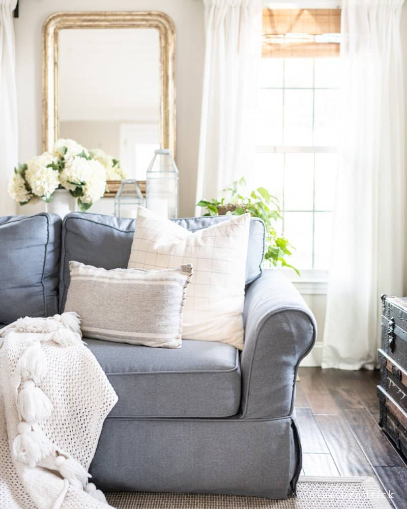 Sofa with pillows styled and plants in living room