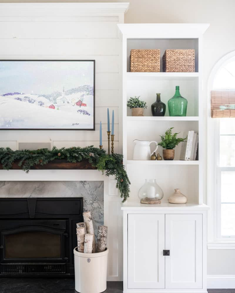 Knowing your decorating style versus what you like | winter decor on built-in shelves