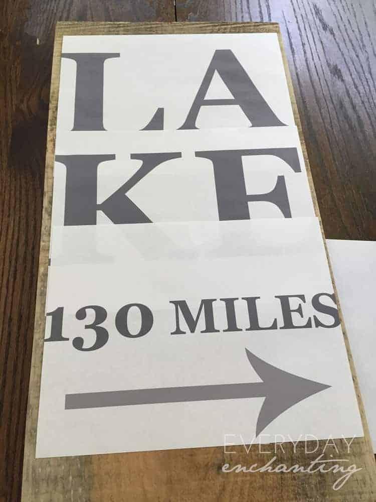 stenciling lake sign