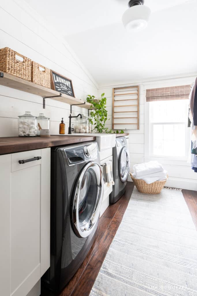 laundry room makeover with a blue patterned runner