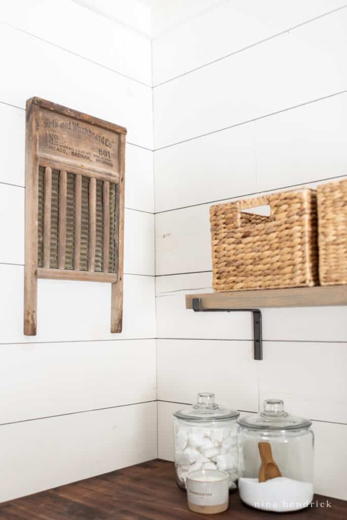 vintages washboard and glass jars