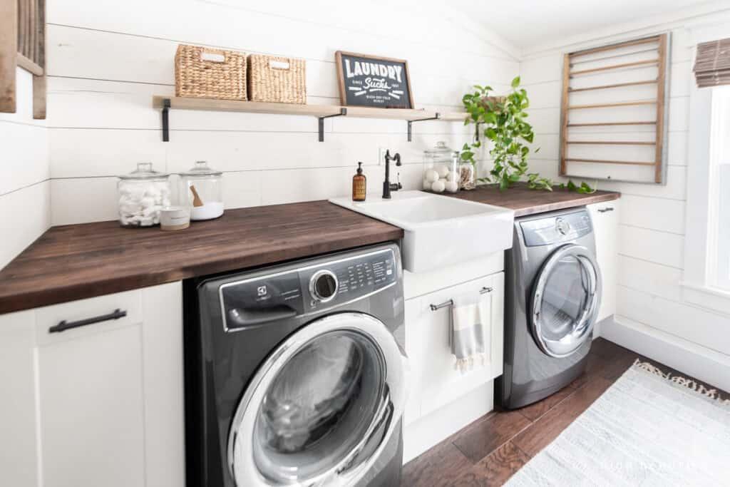 modern and fresh white laundry room makeover