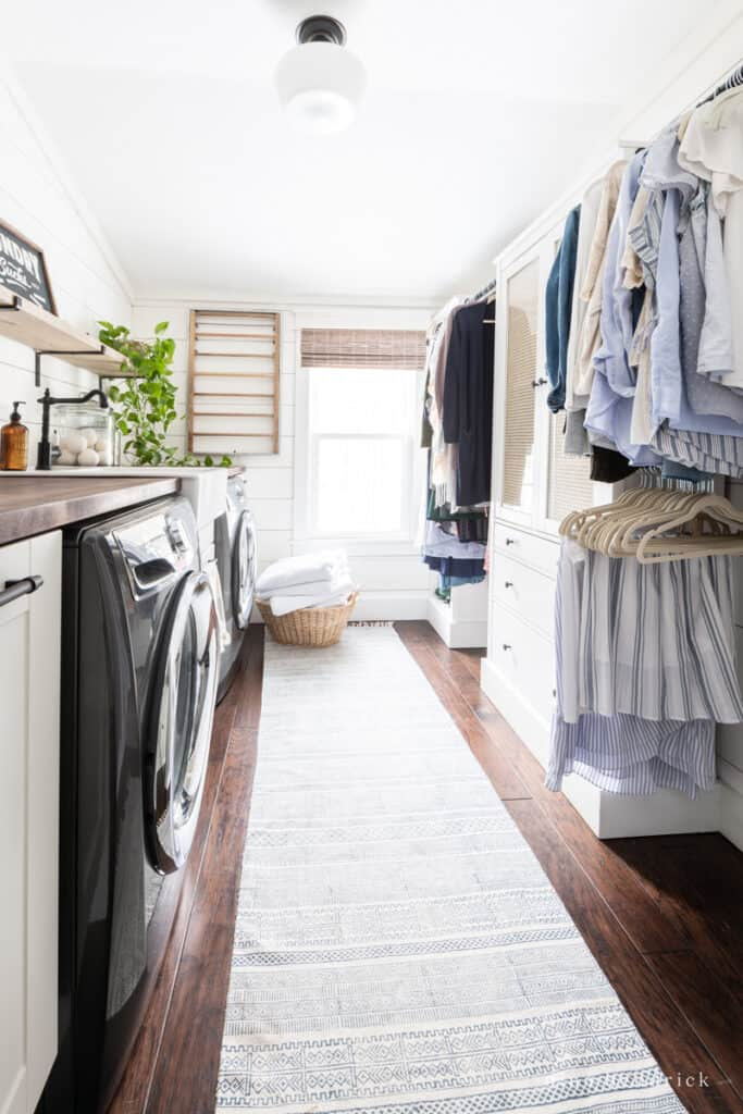 Second-floor laundry room and closet