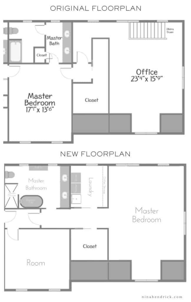 Floor plan switch for a primary bedroom