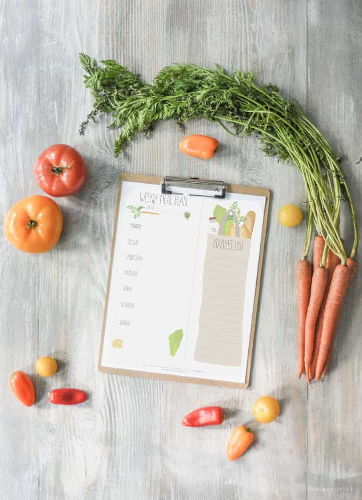 Download this free printable weekly menu and shopping list! Save time and money by planning your trip to the market in advance.