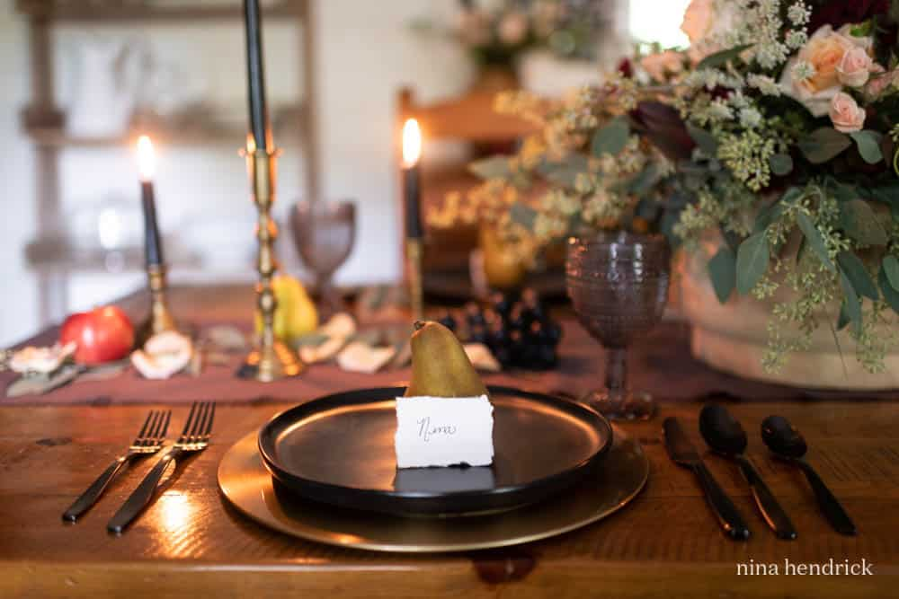 Fall Place setting with moody tablescape