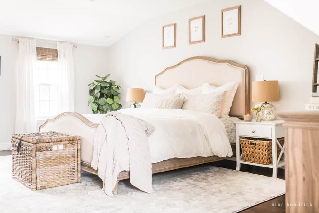 Morning routines start the night before | bedroom with white linens and wicker
