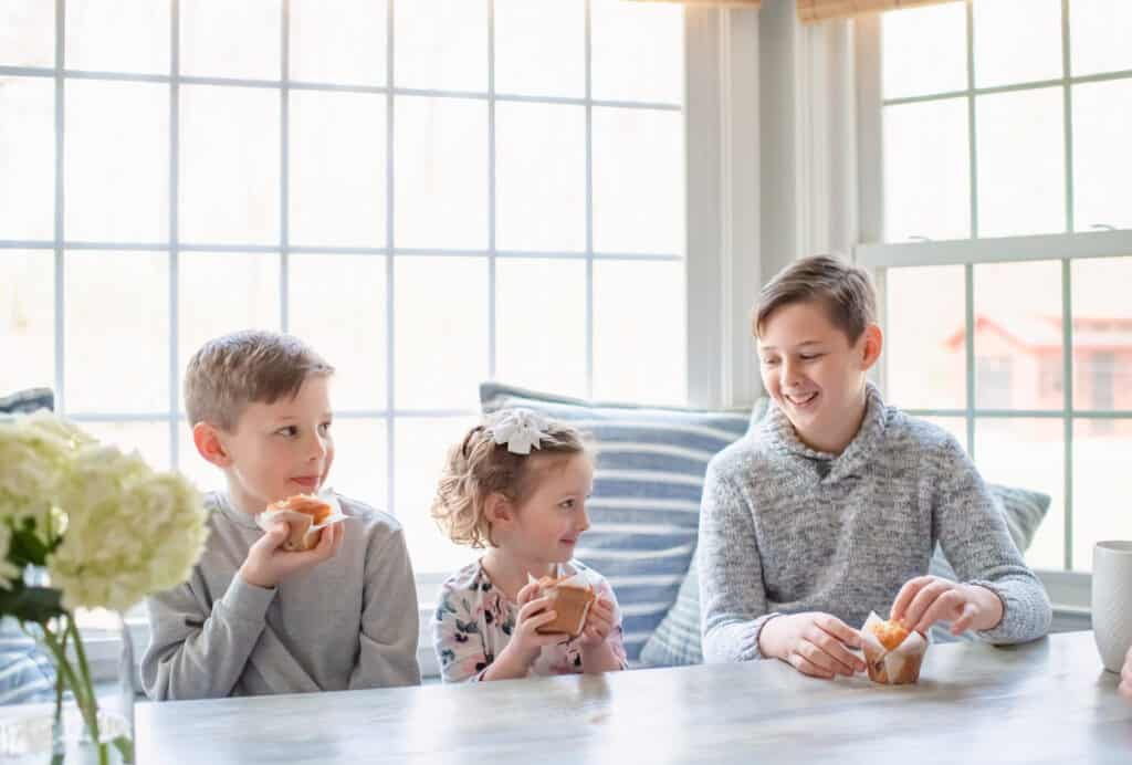 Children eating in breakfast nook
