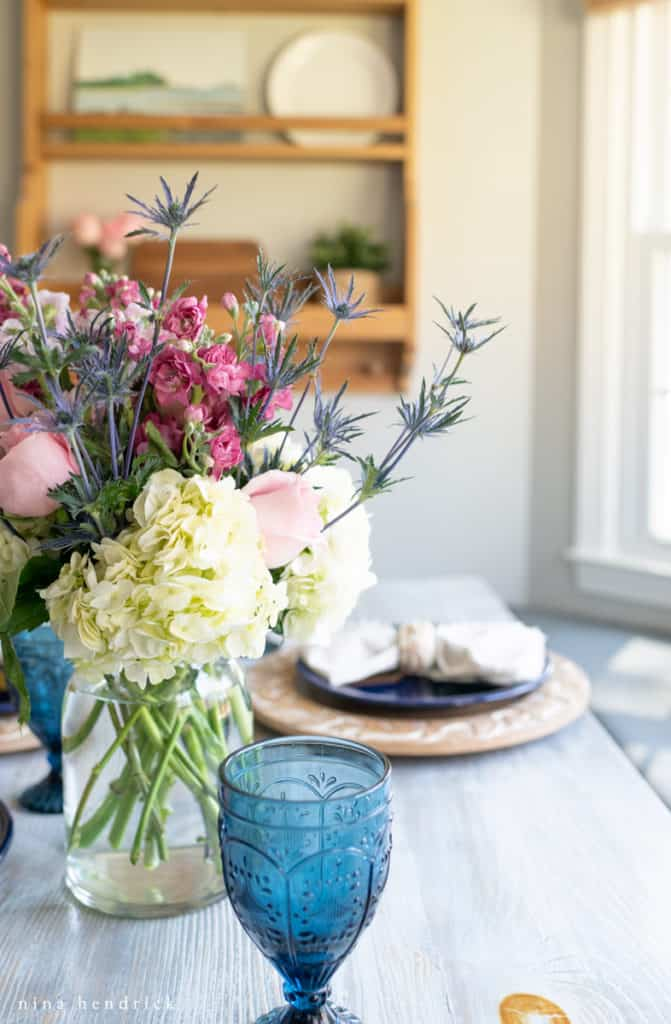 Flowers at a tablescape