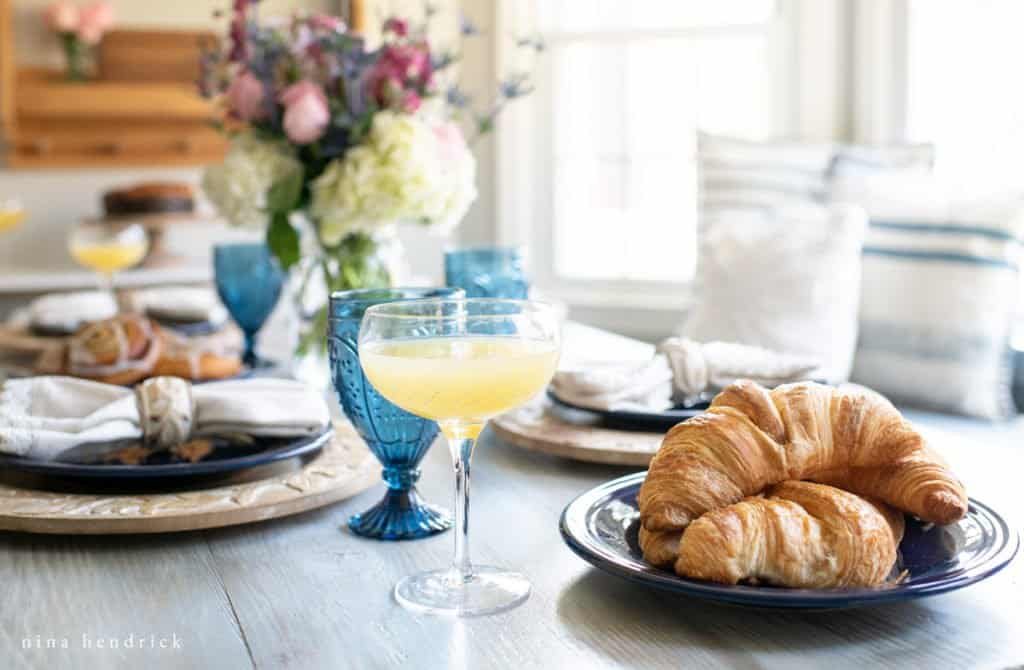 Mother's Day Brunch mimosas and croissants