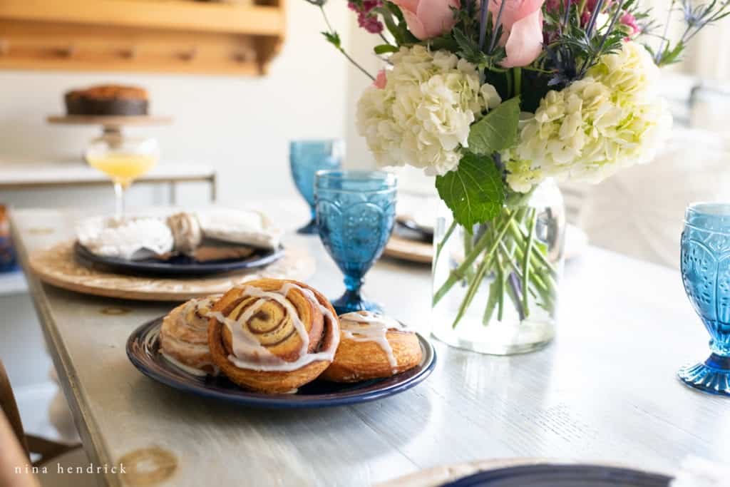 Cinnamon buns and blue glasses