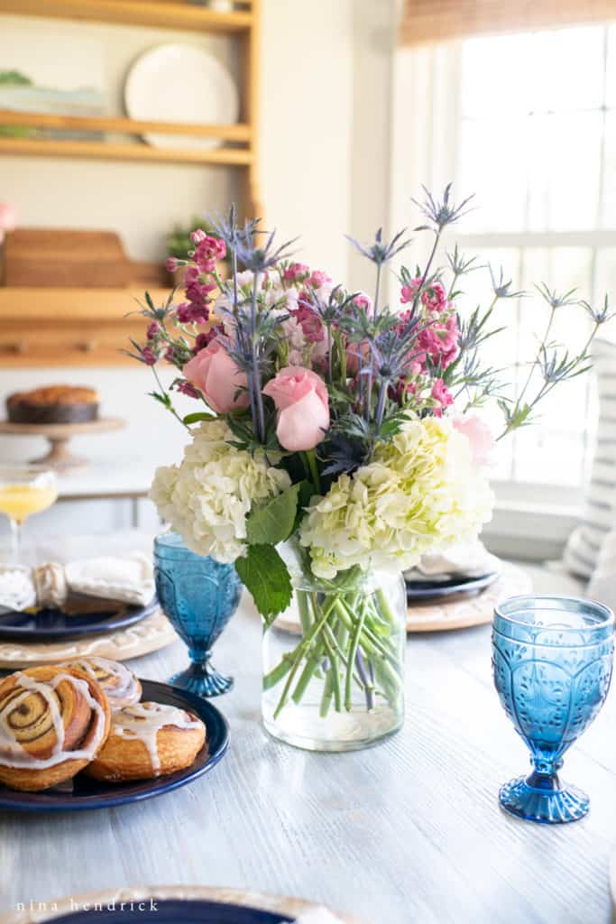 Flowers and blue goblets