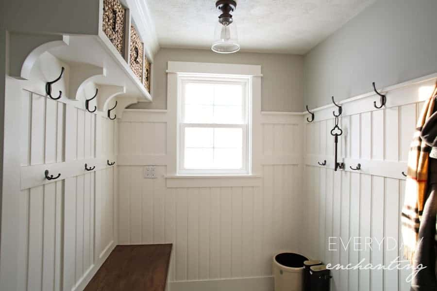 DIY Laundry Closet to Mudroom Makeover- Discover how we transformed a dark and dingy laundry closet to a bright and open mudroom