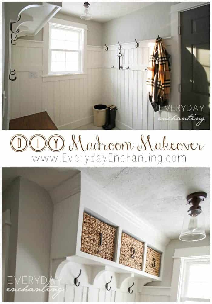 DIY Laundry Closet to Mudroom Makeover- Discover how we transformed a dark and dingy laundry closet to a bright and open mudroom!