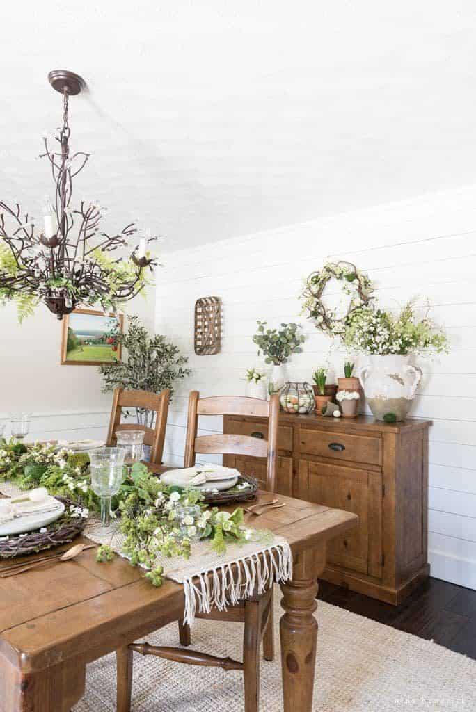 Natural Spring Tablescape vertical shot with spring vignette