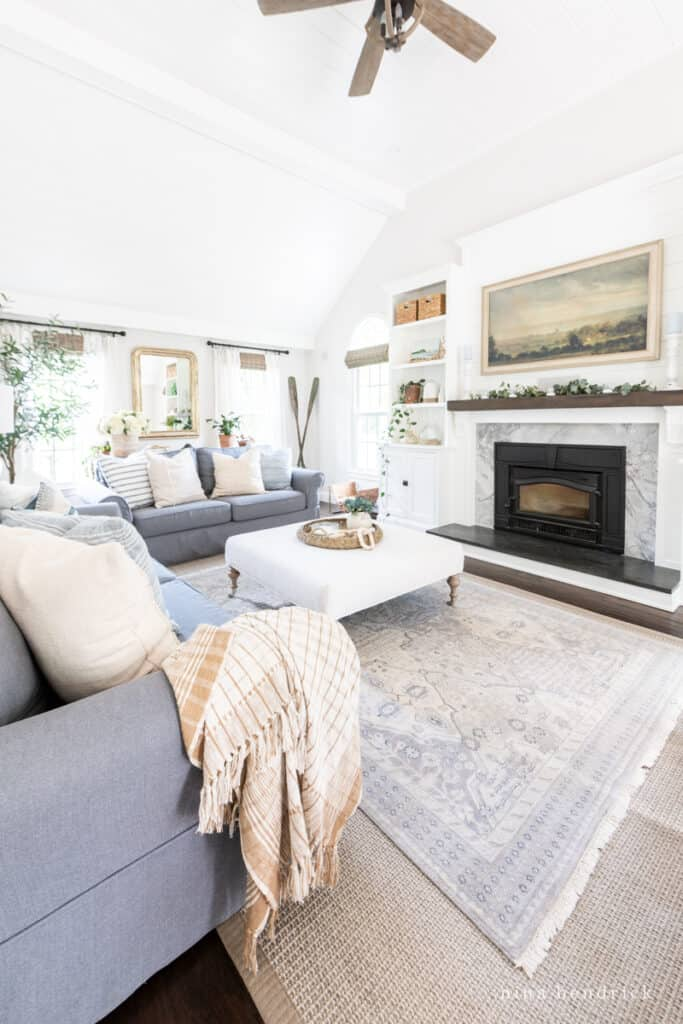 Natural & Neutral Family Room with layered rugs