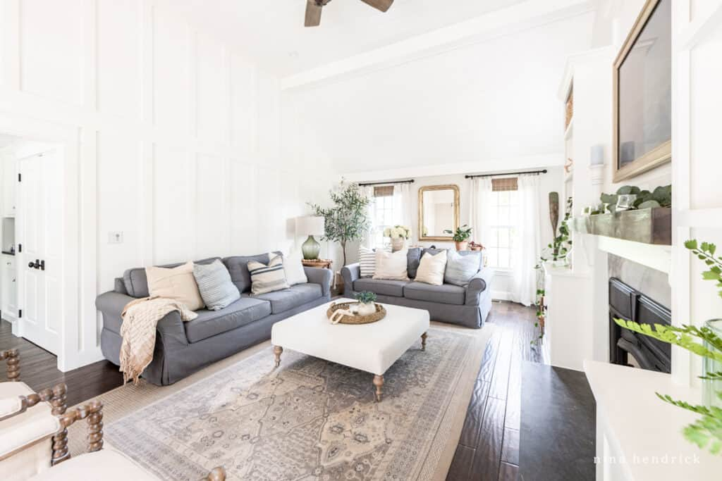 Living Room with white walls and board and batten