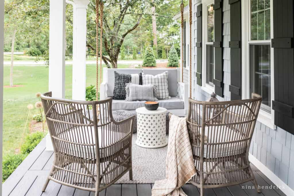 Outdoor seating area in decorated for summer