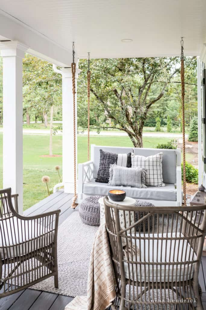 bed swing on the summer porch