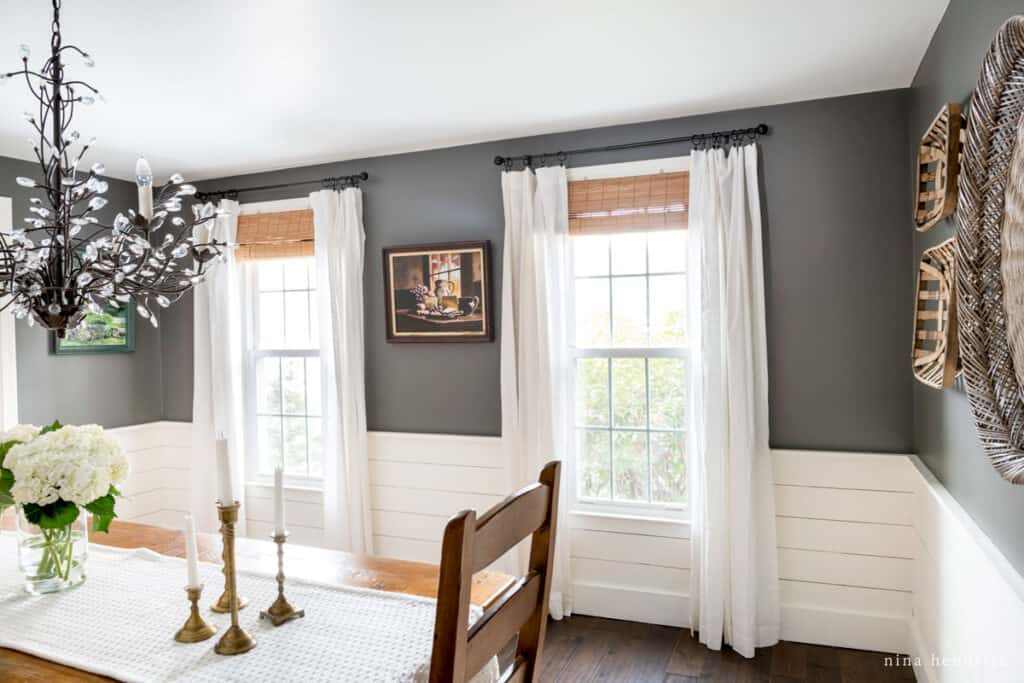 New England-Inspired Neutral Paint Color Scheme with Kendall Charcoal Painted Dining Room