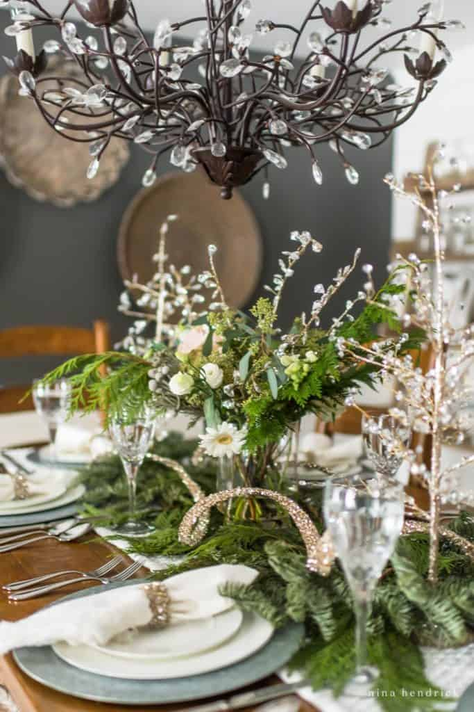 Glittering flower arrangement on a New Year's Eve Tablescape