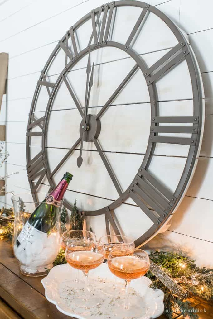 New Year's Eve tablescape vignette with rose champage
