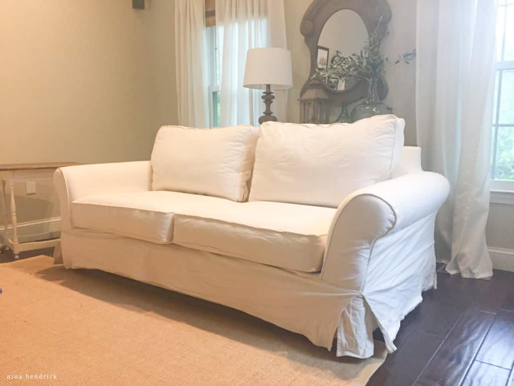 PB Comfort Sofa with shrunken slipcover