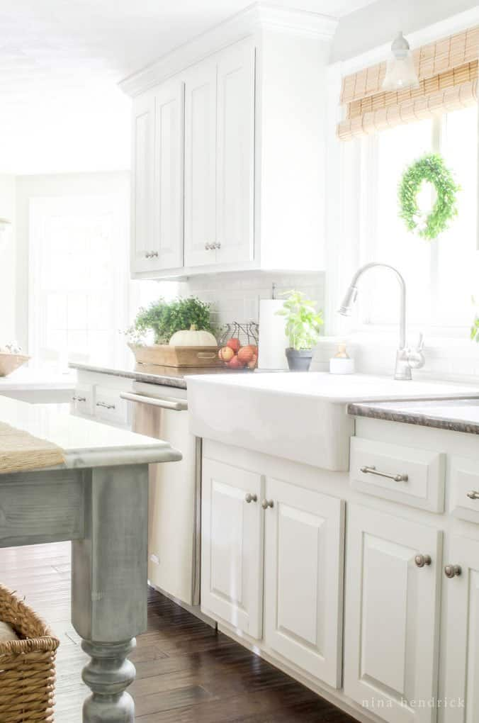 White painted oak cabinets