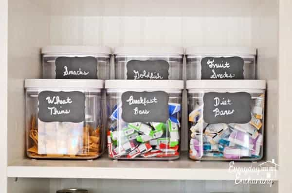 Good Idea - Use chalkboard labels in the pantry :: OrganizingMadeFun.com