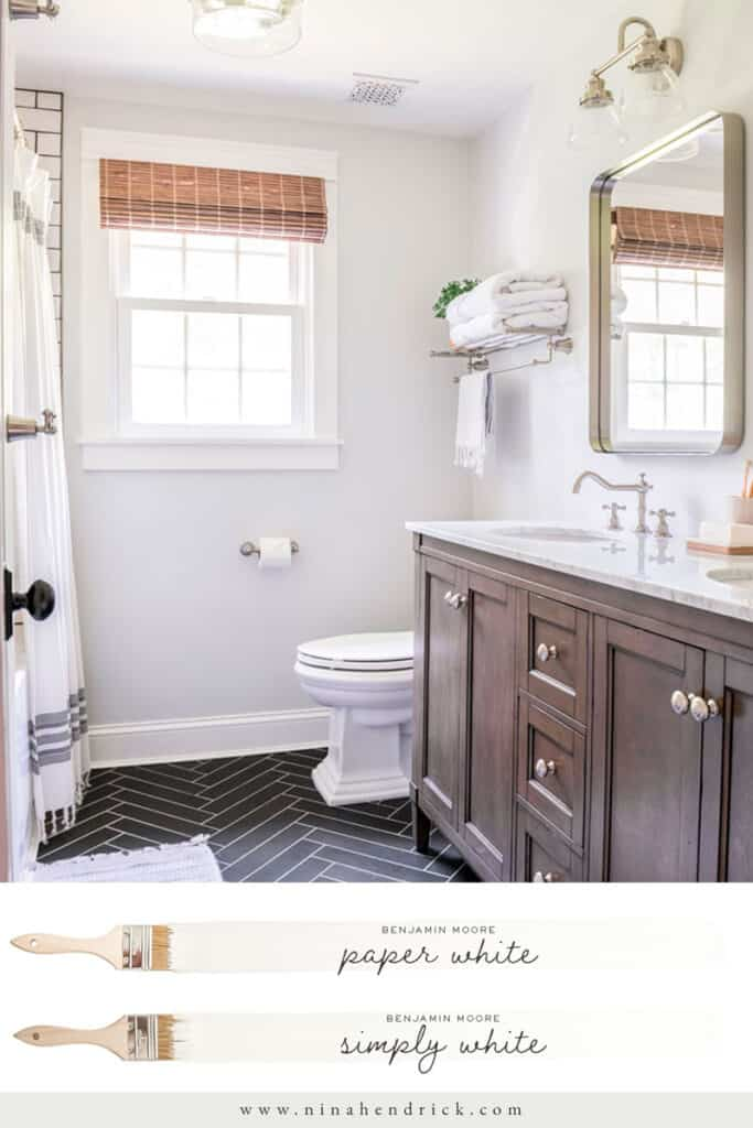 Neutral bathroom color scheme with Benjamin Moore Paper White and Simply White trim