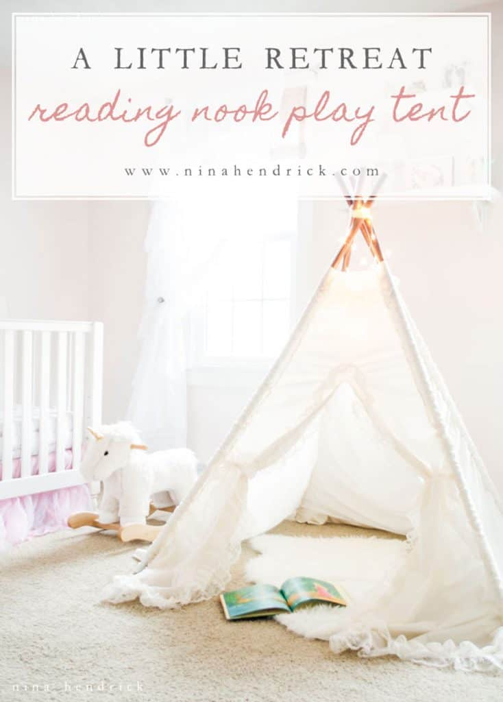 Create a little retreat right in your little girl's room by using a play tent, comfy rug, and pillows for a cozy reading nook.