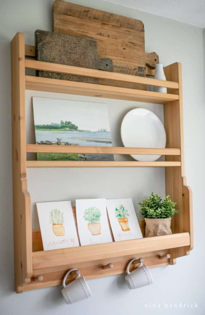 watercolor herb prints on plate rack