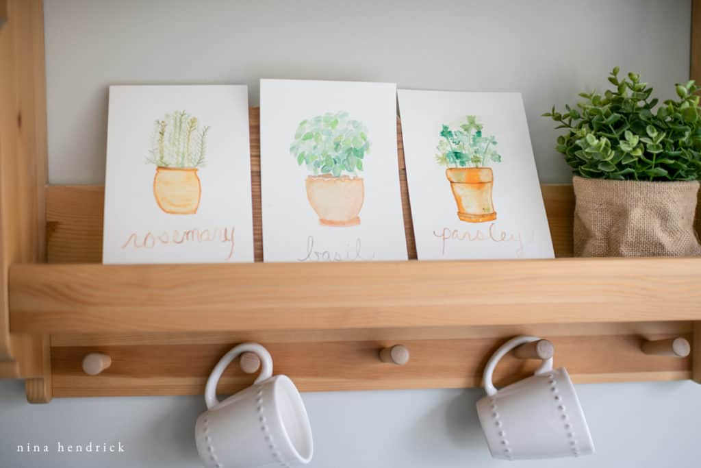 kitchen prints of watercolor herbs