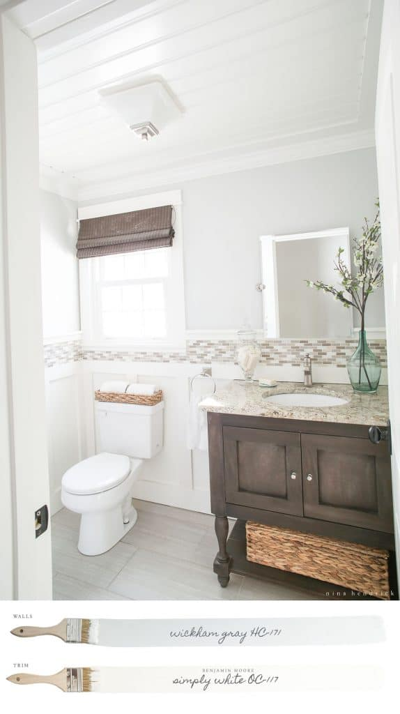 New England Farmhouse Neutral Paint Color Scheme | Cottage powder room with Benjamin Moore Wickham Gray walls.