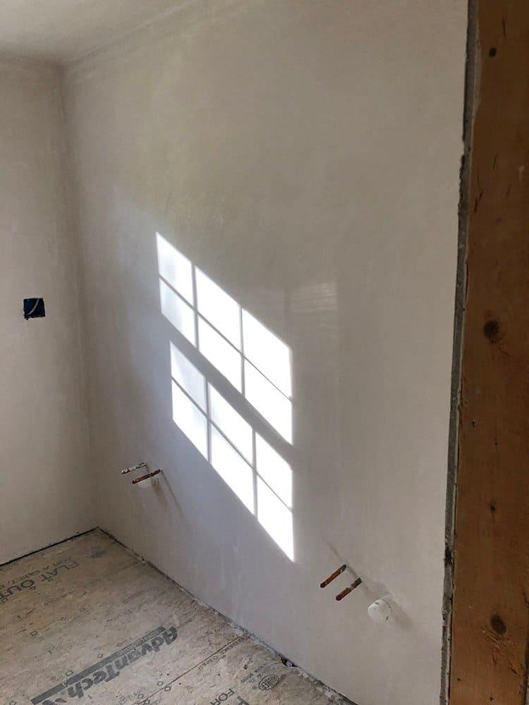 primary bathroom plaster