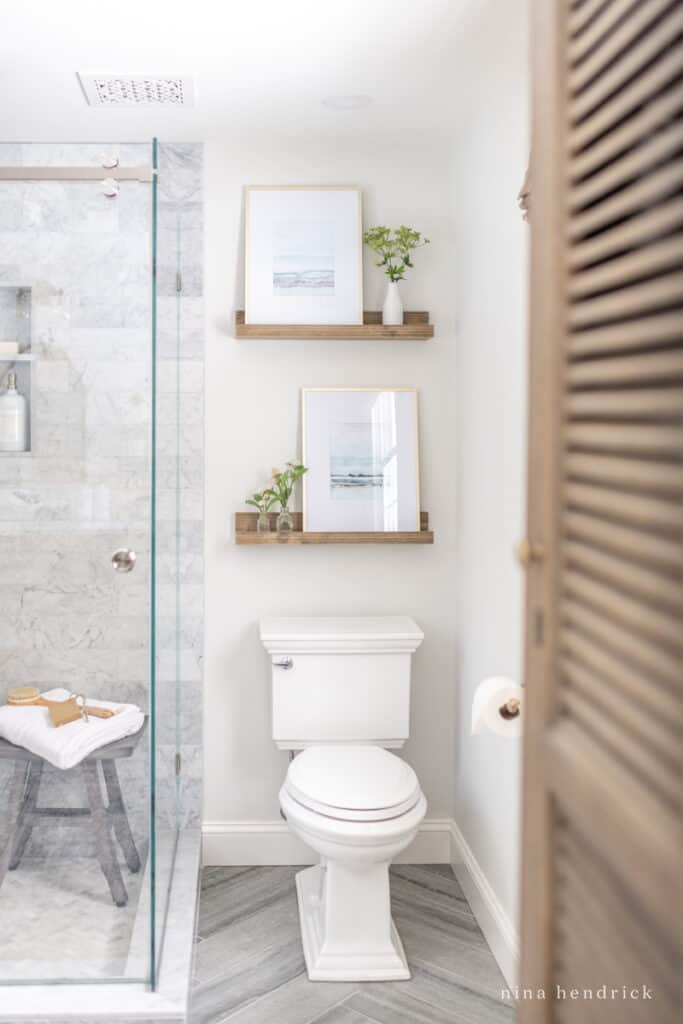 Primary Bathroom Makeover and decorating ideas for above the toilet