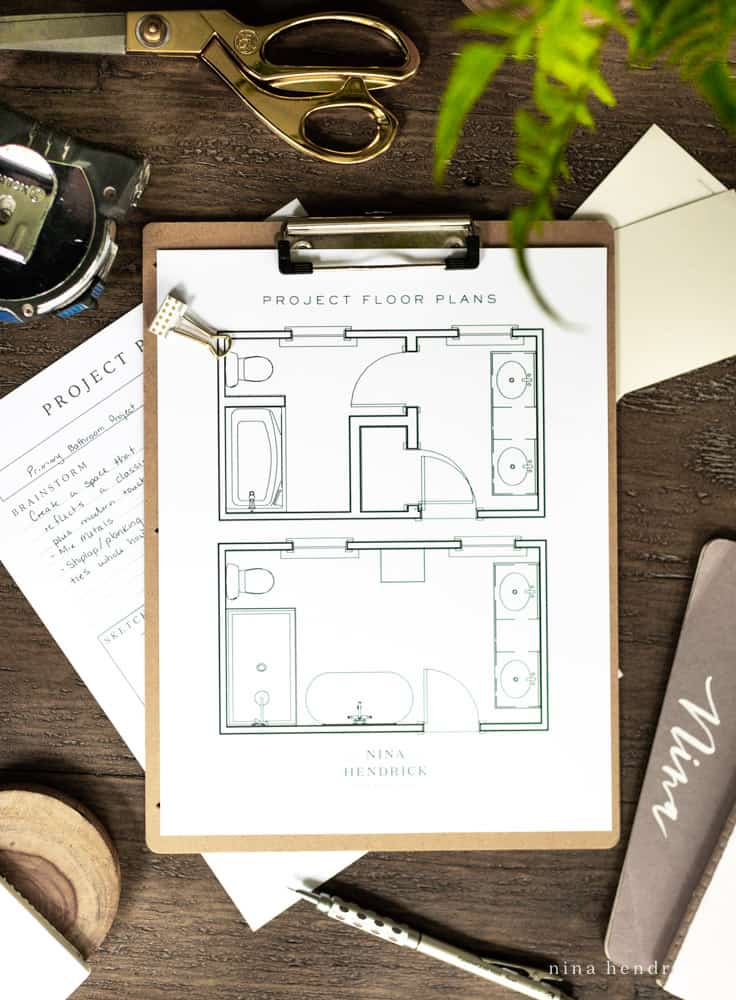 Primary bathroom project floorplans
