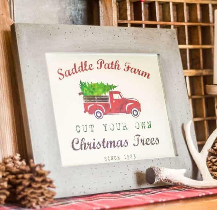 Free Printable Vintage Tree Farm Sign & Vignette