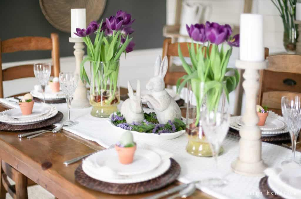 Purple spring tablescape with tulips and bunnies