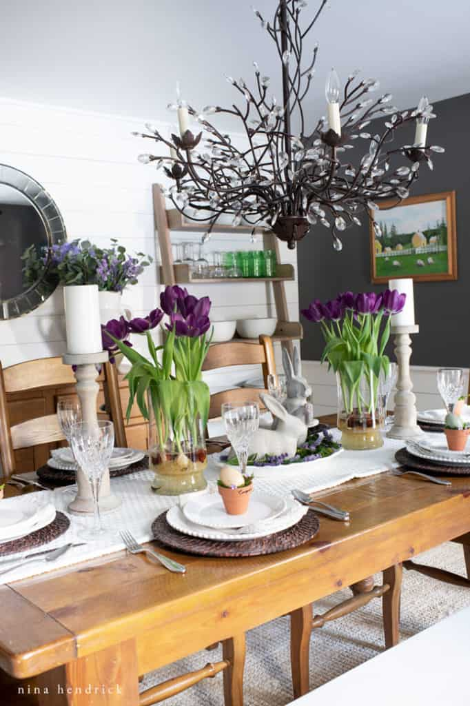 Celebrate Easter with a purple Spring tablescape.