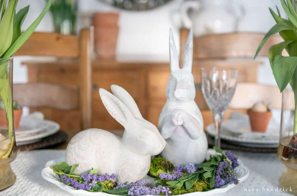 Easter bunny vignette for a purple spring tablescape.
