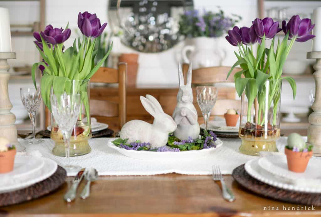 Create a simple vignette for a purple spring tablescape.